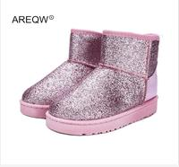 AREQW 2017 New Winter Snow Boots Sequins Classic Women Short Boots Fashion Women S Shoes Thick