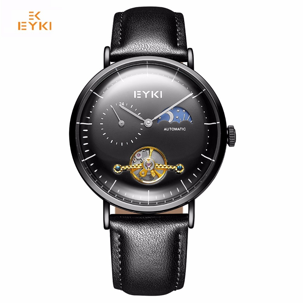 EYKI Tourbillon Mechanical Watch Automatic Black Skeleton Watch Men Moon Phase Mens Watches Top Brand Luxury Leather Waterproof элидел крем 1% 15 г