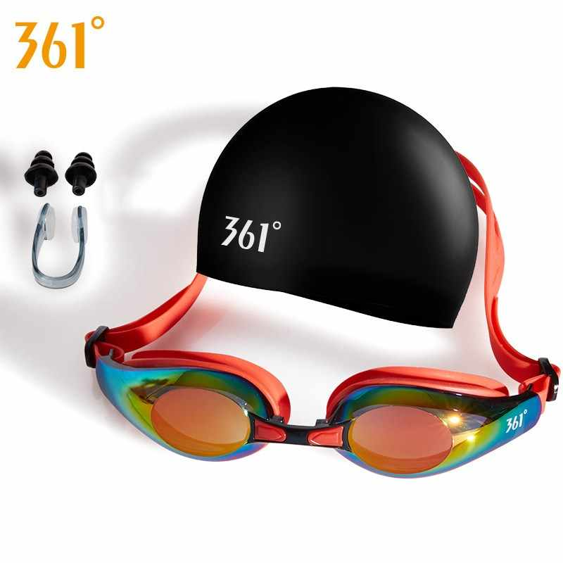 e7b934b11ec3 361 Adult Swimming Goggles with Swimming Cap Ear Plug Nose Clip for Pool  Professional Swim Eyewear UV Protection Swim Glasses