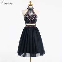 Cute A Line Two Piece Prom Dress 2017 High Neck Backless Embroidery African Black Short Prom