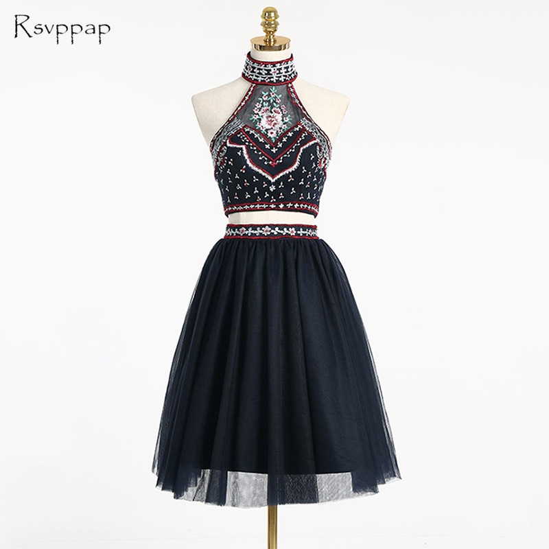 361ae581eb0 Cute A-line Two Piece Prom Dress 2019 High Neck Backless Embroidery African  Black Short Prom Dresses