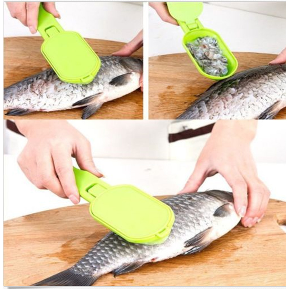 1 PCS Hot Sale Gadgets Kitchen Tool Fish Cleaning Fish Scales Brush Cleaner Descaler Seafood Remover Fish Skin Scraper