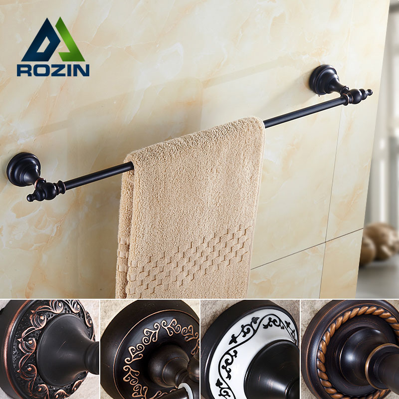 Oil Rubbed Bronze Wall Mounted Bathroom Single Towel Bar Towel Holder Bathroom Accessories oil rubbed bronze wall mounted dual cup holder toothbrush holder w two ceramic cups