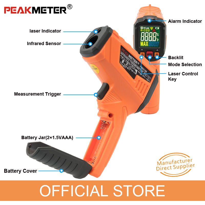 Image 4 - PEAKMETER PM6519B Laser LCD Digital IR Infrared Thermometer 