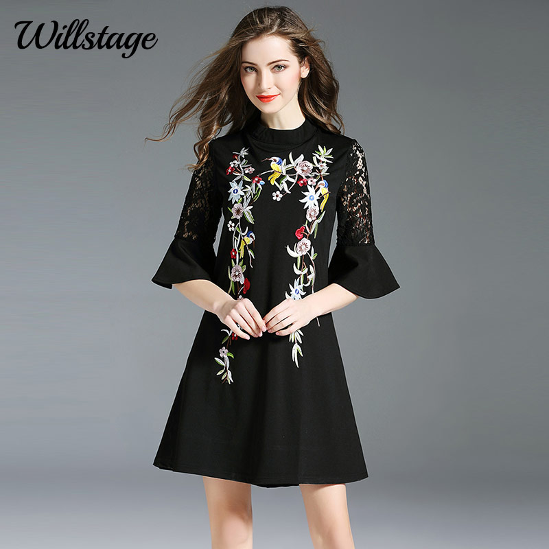 Willstage Black Lace Dresses Flare Sleeve Hollow out Dress Floral  Embroidery Printed Ethnic Elegant Dress 2018 Spring Vestidos-in Dresses  from Women s ... f8bcef37cb70