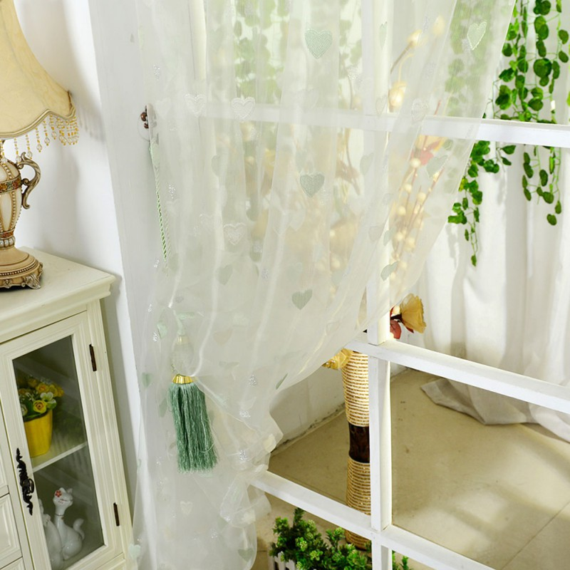 3 panel window curtains master bedroom 3 colors curtain tulle voile door window heart printed drape panel sheer scarf valance curtains d315in from home garden on