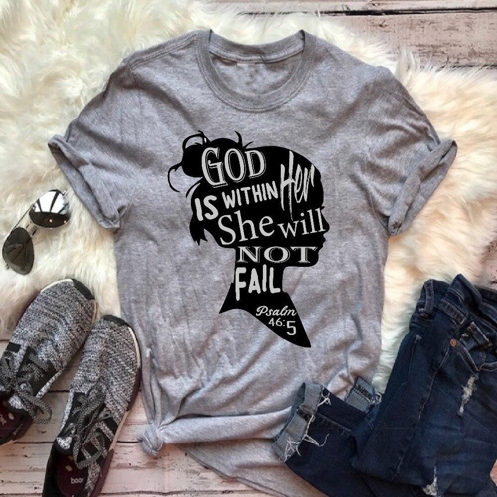 Deus está dentro dela, ela não falhará. Salmo bíblia versículo camiseta cristão topo gráfico moda feminina casual algodão slogan goth t camisa