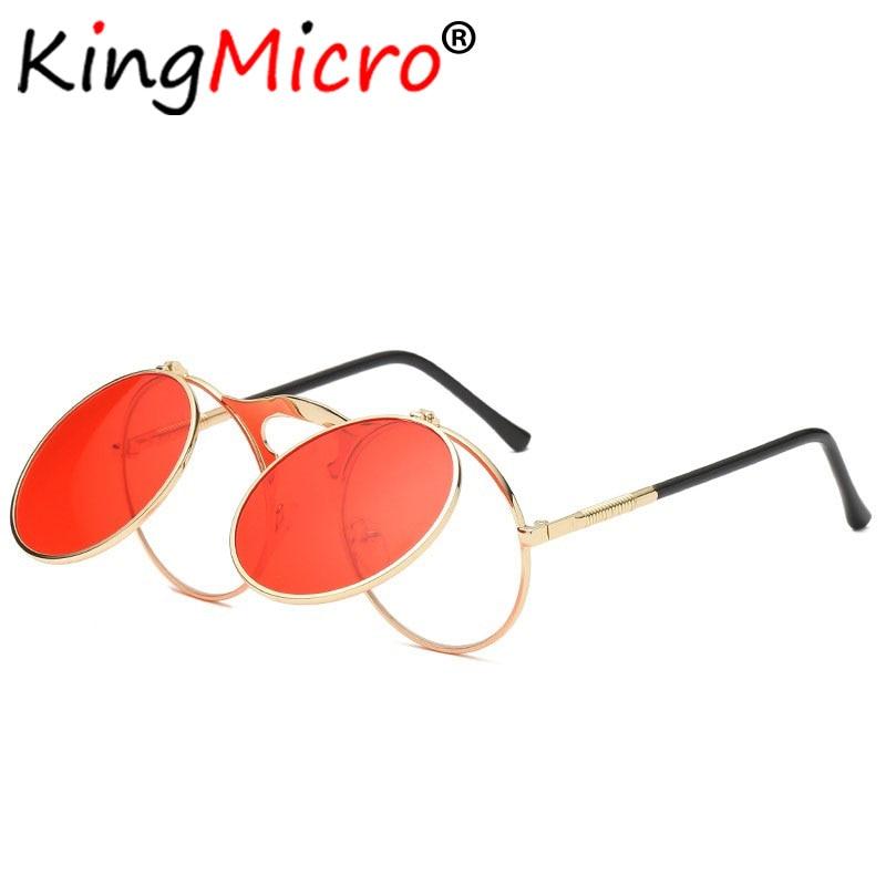 Mujeres ronda Fip se gafas de sol hombres 2018 Vintage Steampunk gafas de diseñador de tonos tendencia marco de Metal Unisex gafas de sol UV400 rojo