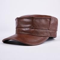 Men's leather octagonal cap flat cap fashion warm earmuffs peaked cap hat