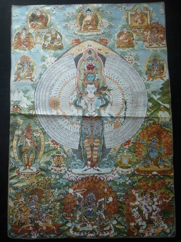 Tibetan Buddhism Tibet Silk Inwrought Thangka Thousands of Head Kuan Yin