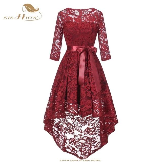 Sishion Vrouwen Vintage Kanten Jurk Mode Wijn Rood Roze Navy Blauw