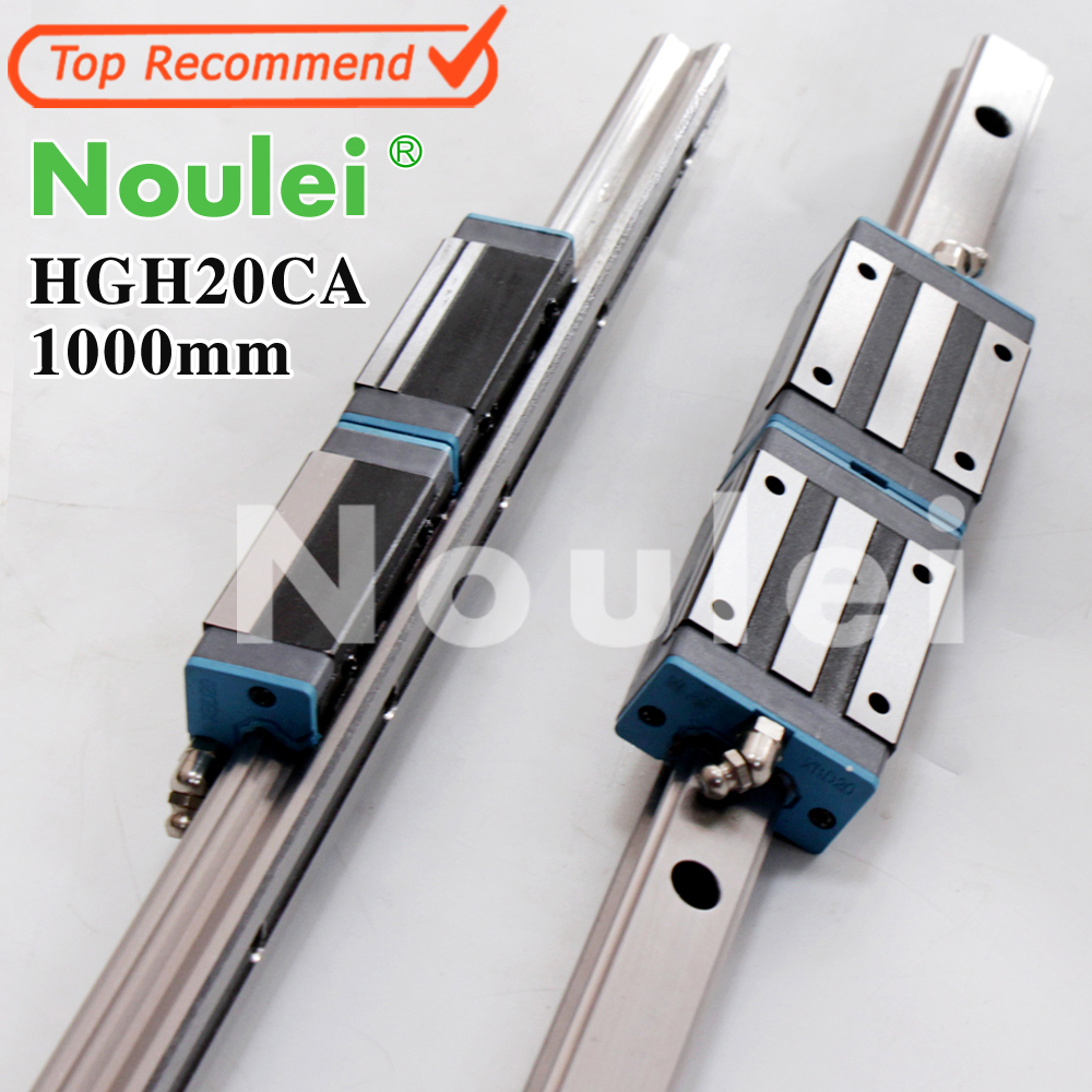 Noulei HGH20CA 4pcs linear guide blocks with 20mmm rail HGR20 1000mm of cnc parts set High quality SELF-OWNED BRAND tbi cnc sets tbimotion tr20n 1000mm linear guide rail with trh20fl slide blocks stainless steel high efficiency