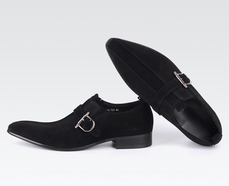 Italianos Alta Em 100 Marca Couro Camurça Dos Deslizamento Qualidade Genuíno Sapatos Qyfcioufu Preto Negócios Pontudos De Vestido Sapatas Homens marrom Fivela OTqYnw