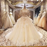 Factory direct wedding dresses beading ball gown lace up back O neck short sleeves abito da sposa 2018 real photos