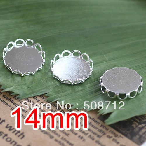 Free shipping!!! silver plated color Cabochon Frame Settings 14mm,Cameo Cab settings,pendant base