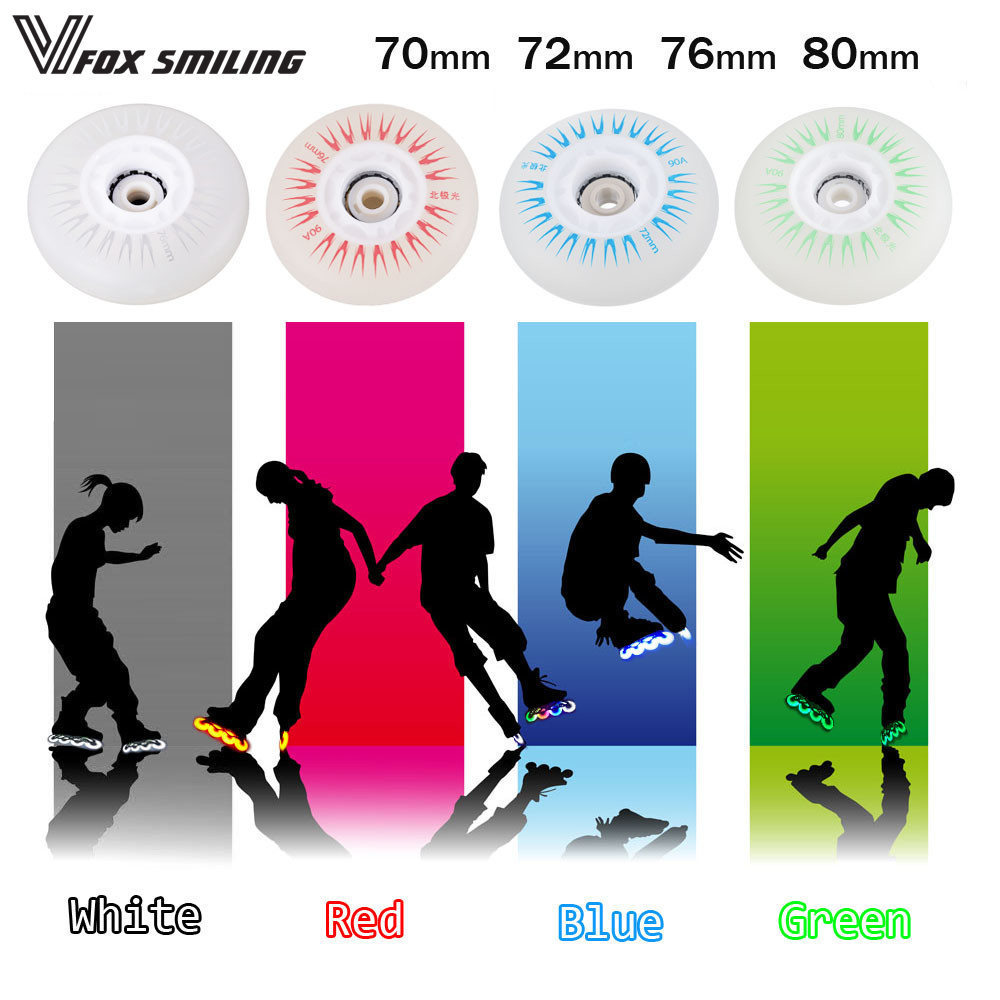 Roller Skates Wheel 90A 70 72 76 80mm Skate Slalom/Braking Roller Skating Wheel LED Light Sliding Skates Wheels