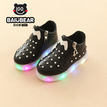 2017 Children Tenis LED Sneakers Single Wheels Flame Buty Led Luminous Boys Girls Toddler Roller Glowing Sneakers Size 27-37