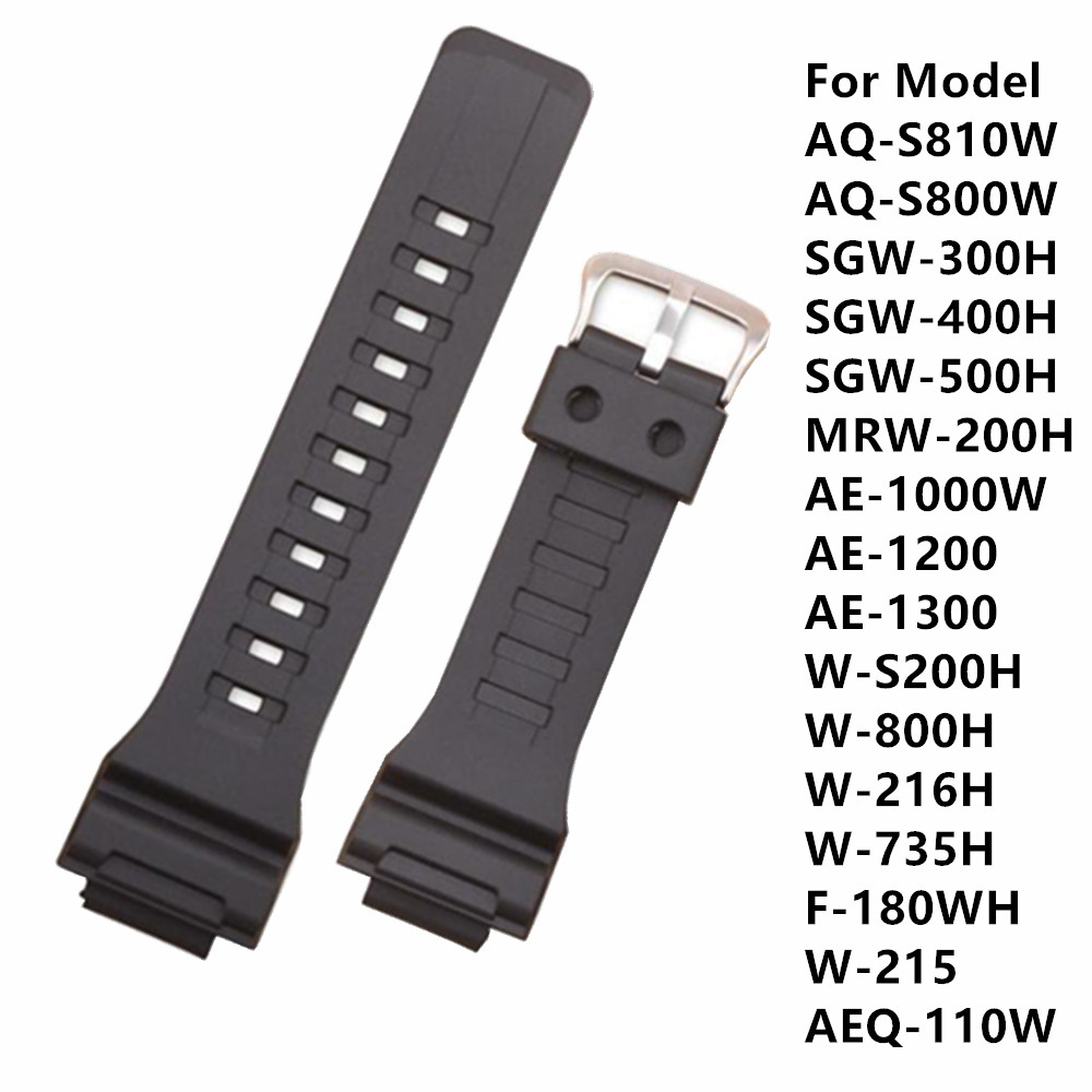 Watch Accessories Band Strap18mm For Cas AQ-S810W AE-1000W / 1200 / 1300 SGW W-216H Waterproof Wacthband Replace