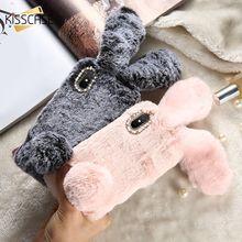 Kisscase 2018 New натуральным кроличьим мехом пушистый чехол для iPhone X 8 7 6S 6 Plus милый кролик Мех животных diamond Дизайн чехол для iphone 5S 5 SE capinha For чехол на айфон 7 6 6s 8 Plus чехол на айфон X XR