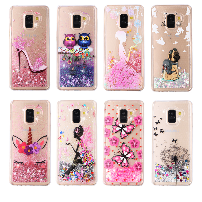 Luxury Glitter Liquid Case For Samsung Galaxy S10 Lite S9 Plus S8 S7 J3 J4 2018 J5 2016 J6 Plus J7 2017 A6 Plus A7 A8 A9 Coque(China)