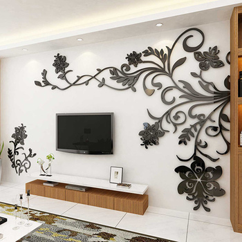European Style 3D Flower Tree Wall Sticker Living Room Decorative Decals Home Art Decor Poster Solid Acrylic Wallpaper Stickers 15