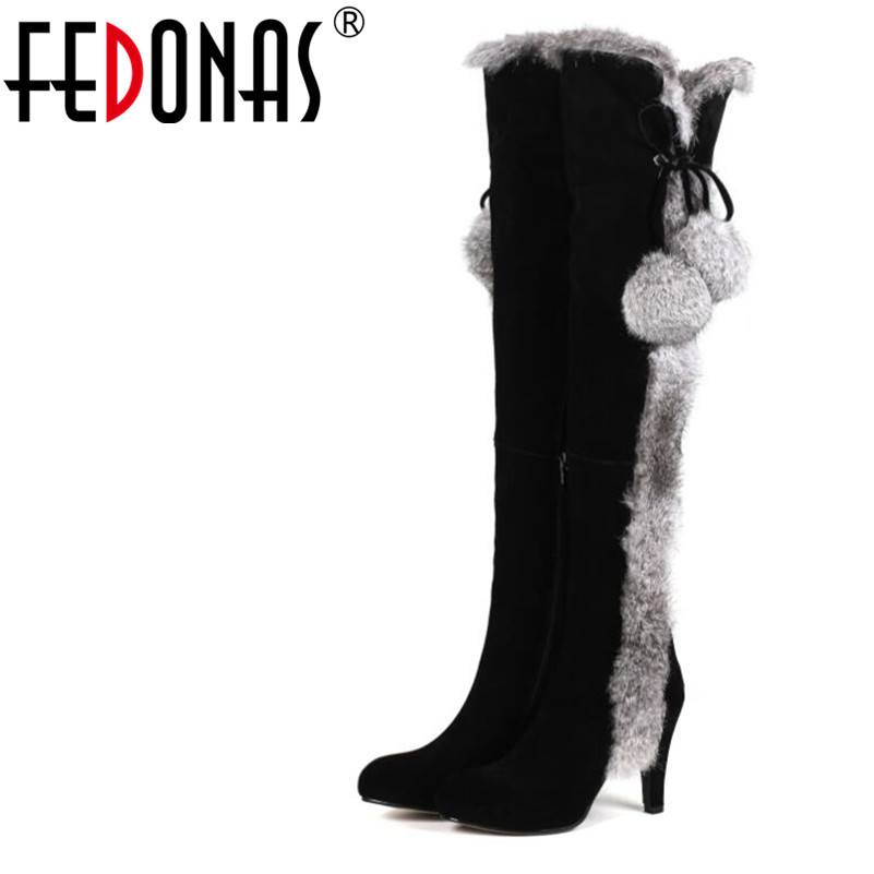 FEDONAS 1New Women Over The Knee Boots Autumn Winter Warm Cow Suede High Heels Shoes Woman Rabbit Fur Luxury Party Snow Boots цена 2017