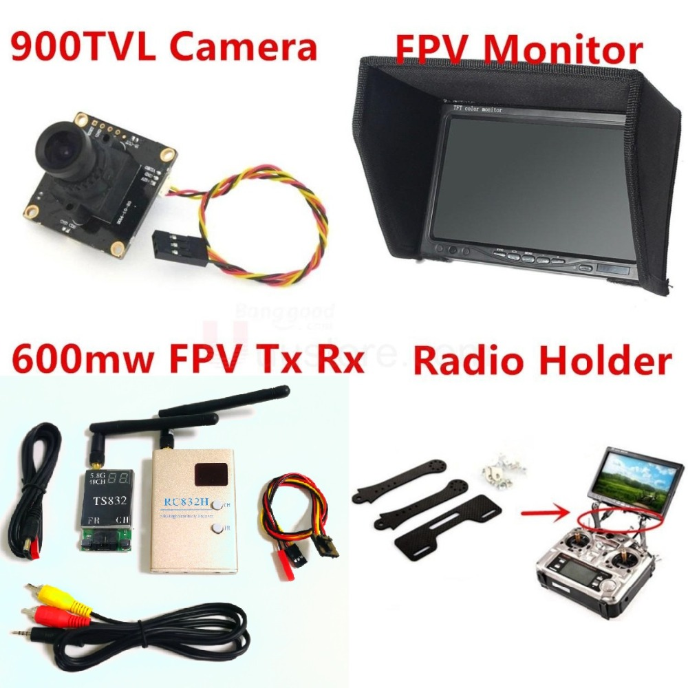 Système Combo Kit RC Fpv caméra 900TVL + 5.8 Ghz 600 mw 48CH VTx VRx + 800x480 moniteur de neige HD + support Radio pour voiture RC