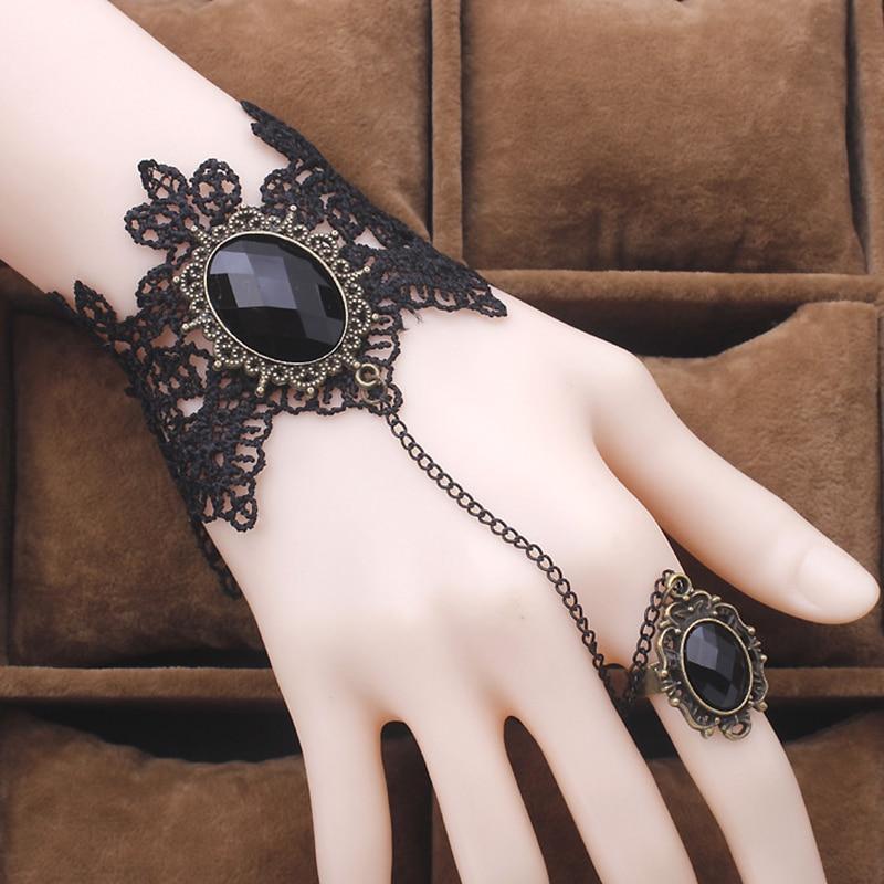 Gothic Retro Vintage Black Lace Bracelet Ring Set with Water Drop Dangle