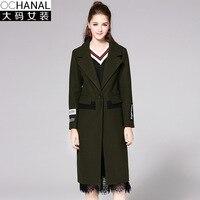 Plus Size Xxxxxl Autumn Outfit New Style Women Coat Long Woolen Blend Coats Turn Down Collar