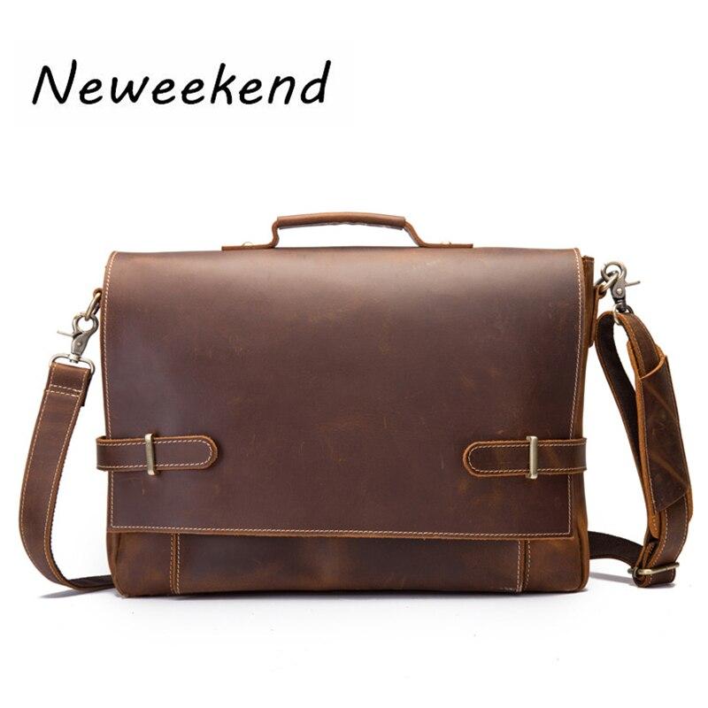 Hommes porte-documents sacs Vintage Simple affaires homme bandoulière sacs Messenger ordinateur portable Ipad sacs en cuir véritable cheval fou