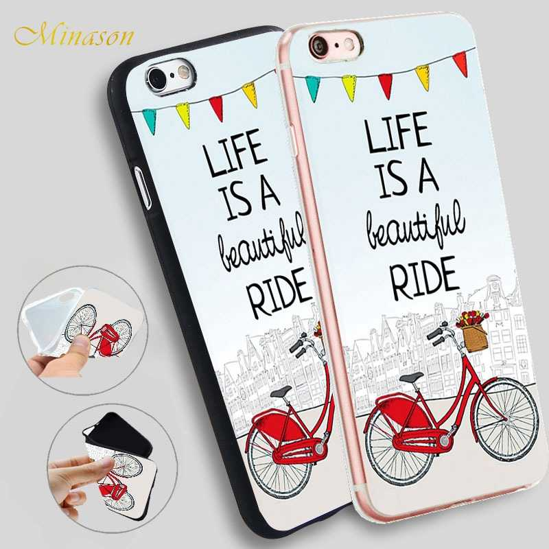 Life is a Beautiful Ride Red City Bike Soft TPU Case for women for iPhone X 8c6eabb958