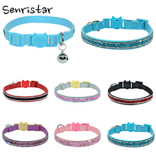 Bling Rhinestone Bell Pet Cat Collar For Small Soft Safe Adjustable  Kitten Buckle Diamond Necklace Pink S