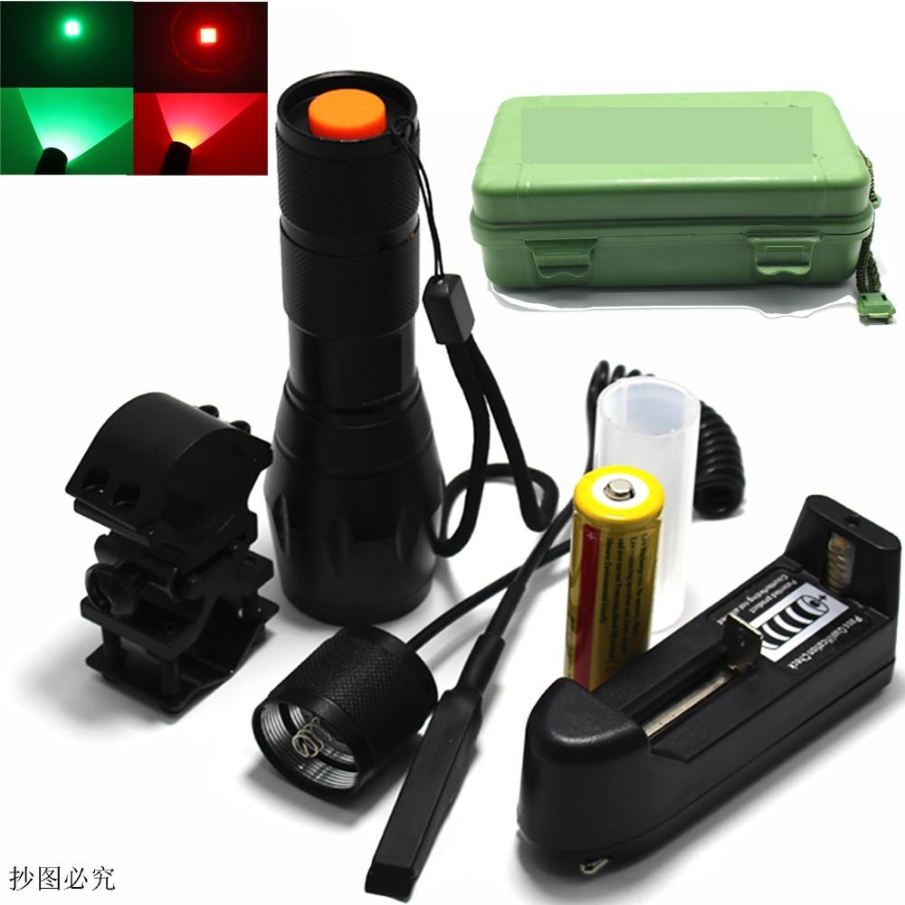 CREE Zoom LED Flashlight Hunting Light Green Red Spotlight ON/OFF Mode With Gun Clip Remote Pressure Switch 18650 DZM-E17 прибор от комаров off clip on с фен системой сменный картридж н новгород