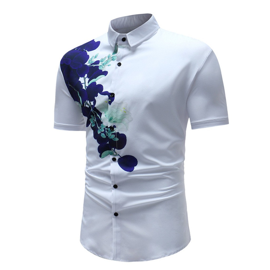 2019 Mens Shirt New Fashion Hot Summer Casual Men's New Style Square Collar Printed Casual Short Sleeve Slim Fit  Shirt Top 40
