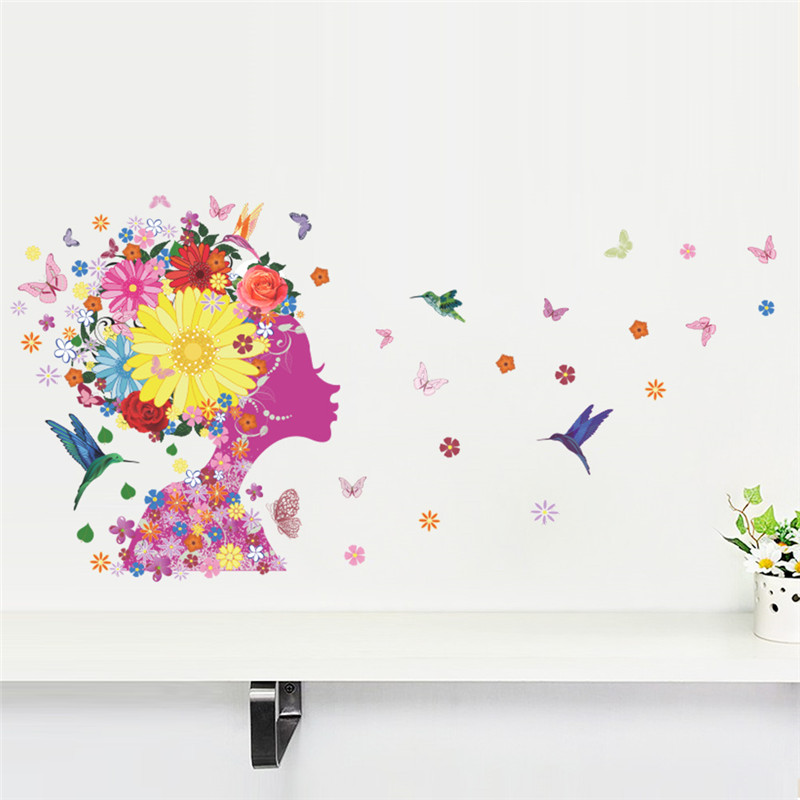 Elegant Flower Fairy Princess Wall Stickers Graceful Blossom Fairy Decals Furnishings Romantic Living Room Bedroom Decoration
