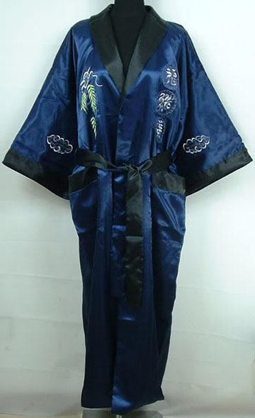Azul marino negro hombres de satén Reversible albornoz bordado vestido túnica de dragón dos Yukata vestido One Size S0029