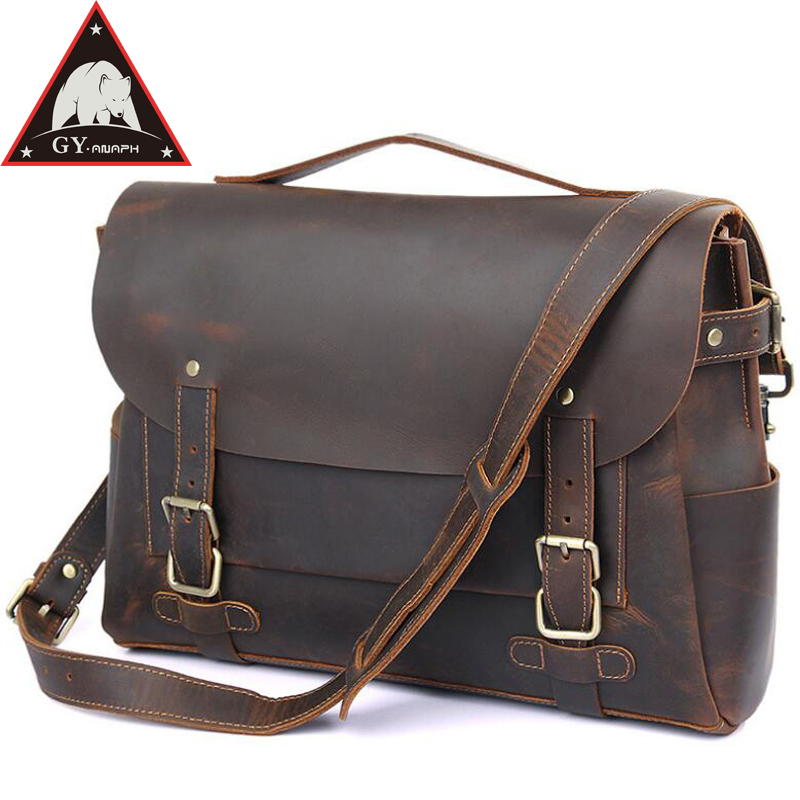 ANAPH Twin Buckles Messenger Bags For Men, Crazy Horse Leather Laptop Briefcases, College Students Satchels/ Dark Brown