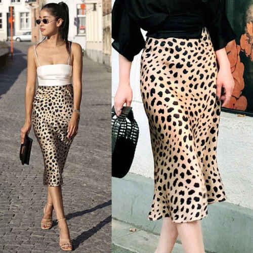 abc46c9bfb8416 Sexy Women Ladies Skirt Leopard Print High Waist Stretch Ladies Long Maxi  Skirts Fashion