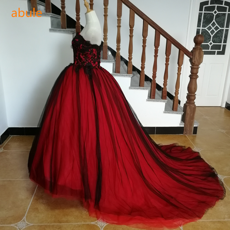 Red Wedding Gowns 2014: ABULE Red Wine Wedding Dress Black Lace Up Train Strapless