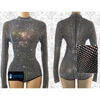 Sparkly Full Crystals Bodysuit Prom Luxury Leotard Outfit Party Celebrate Glisten AB Crystals Costume Nightclub Stage Show Dress