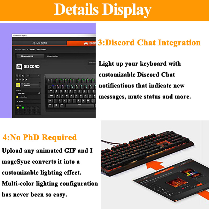 SteelSeries Apex M750 RGB Mechanical Gaming Keyboard Aluminum Frame RGB LED  Backlit Linear & Quiet Switch Discord Notifications