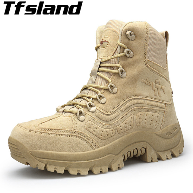 f3e15b4178f US $35.55 39% OFF|2019 Outdoor Hiking Shoes Men's Desert High top Military  Tactical Boots Combat Army Boots Militares Sapatos Ankle Boots Sneakers-in  ...