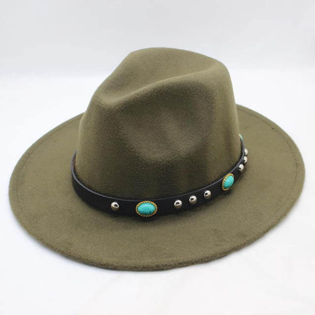 24812e37ccd BING YUAN HAO XUAN Spring Winter Fedora Men Women Vintage Jazz Hats Fashion  Stars Wool Felt