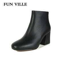 FUN VILLE 2017 New Fashion Genuine Leather Women Ankle Boots Winter High Heel S Toe Slip