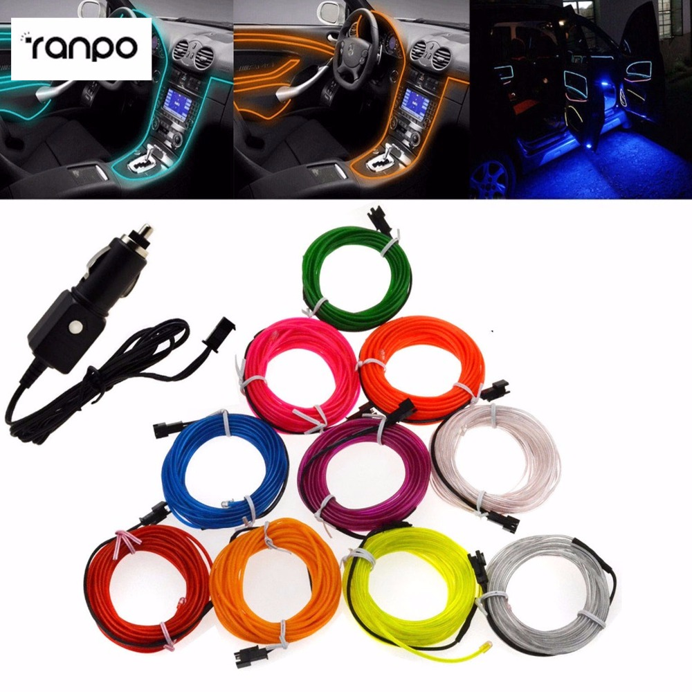 3M 10 Colorful EL Wire Fliexable Neon LED Light Glow String Strip Rope + 12V White Car Cigarette Controller TV Light Dance Party ...