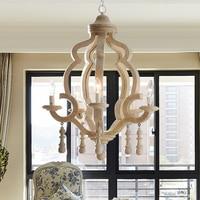 American retro кованого железа деревянная люстра ресторан спальня Личность Творческая страна Вилла клубная Ретро деревянная лампа