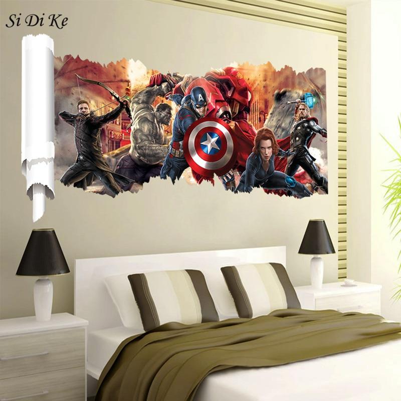 US $3.99 20% OFF|3D Wall Stickers Marvel Iron Man American Captain Broken  The Wall Decor Kids Boys Room Home Wall Art-in Wall Stickers from Home & ...
