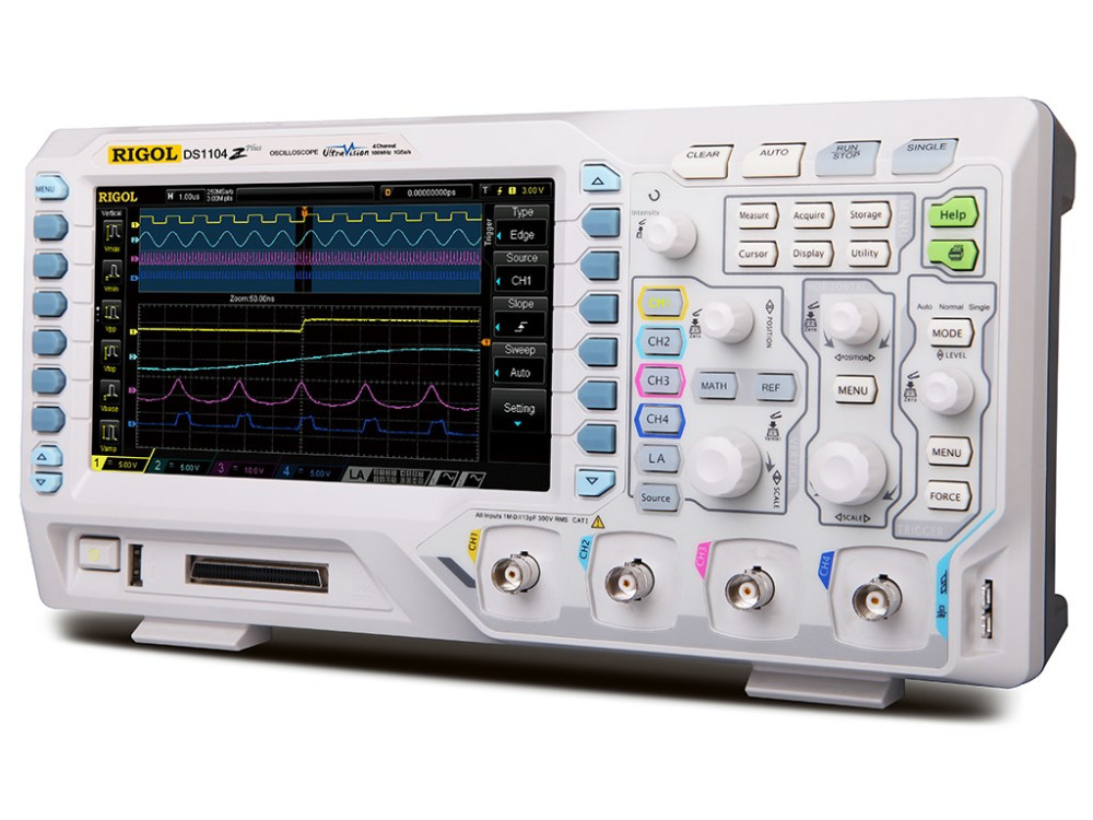 Image 2 - RIGOL DS1104Z Plus 100 MHz Digital Oscilloscope with 4 CH and 16 Digital CH 25 MHz Bandwidth with 2 Signal Source ChannelsOscilloscopes   -