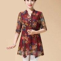 New 2017 Summer Women Chiffon Blouse Fashion Casual Women Shirts Print Elegant Style Chiffon Women Large