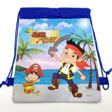 1pcs/lot Baby Shower Kids Favors Birthday Party Jack Pirate Theme Decora Mochila Drawstring Gifts Bags Non-woven Fabric Backpack(China)
